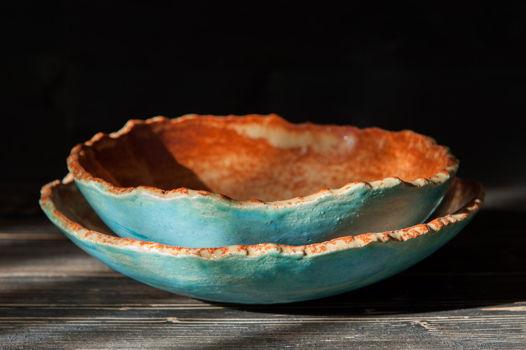 Набор из двух керамических мисок из шамота