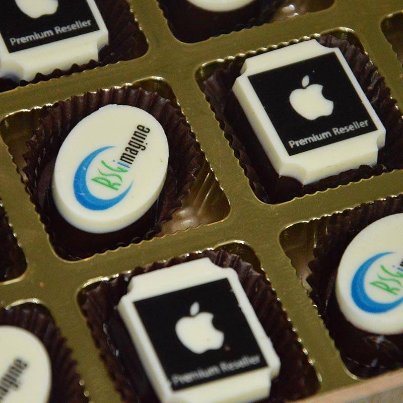 Chocolates printed with Apple logo