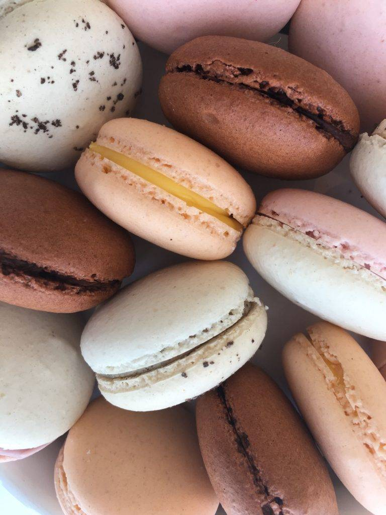 A cluster of macarons up close