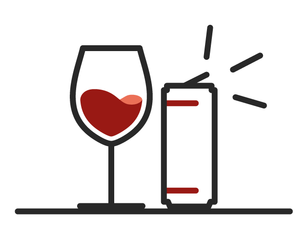 Glass of red wine alongside a open wine can to bring with on a hot summer's day.