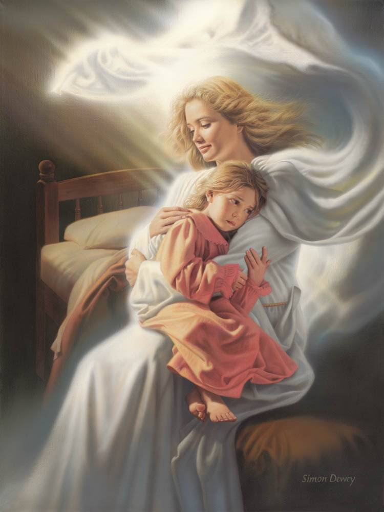 An woman in glowing white robes holds a little girl as they sit on the side of the girl's bed.