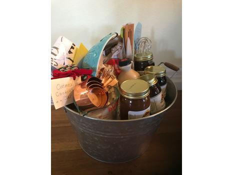 Baking Basket in a Silver Bucket & Blue Bowl
