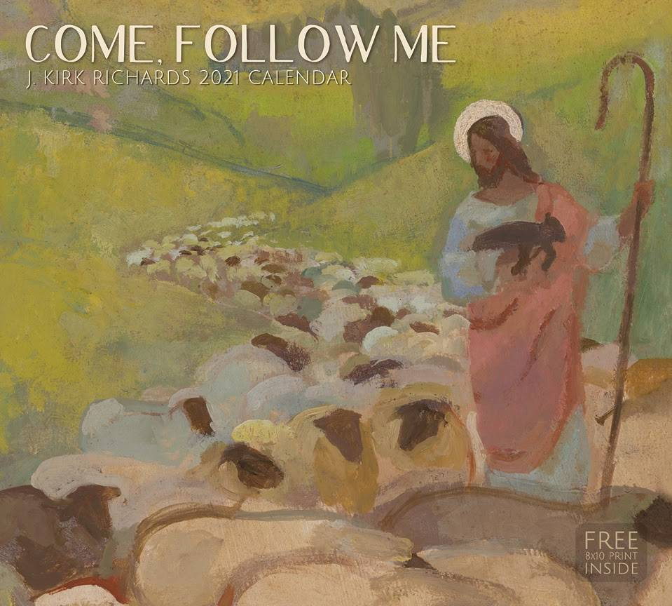 J. Kirk Richar's 2021 calendar cover. Painting of Jesus guiding sheep.