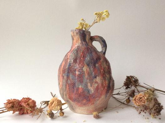 Розовая акварельная ваза для сухоцвета