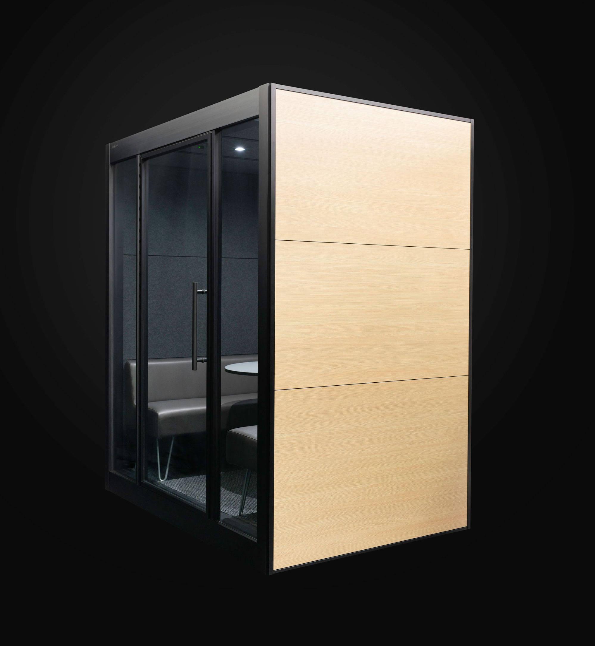SnapCab Meet 4 meeting pod with wood laminate exterior panels