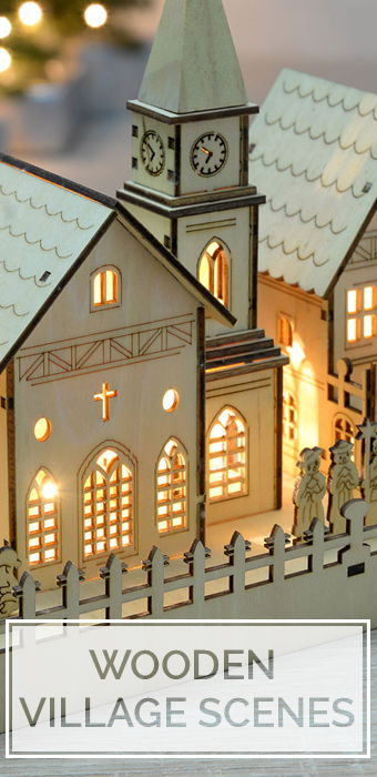 Christmas Wooden Village Scenes