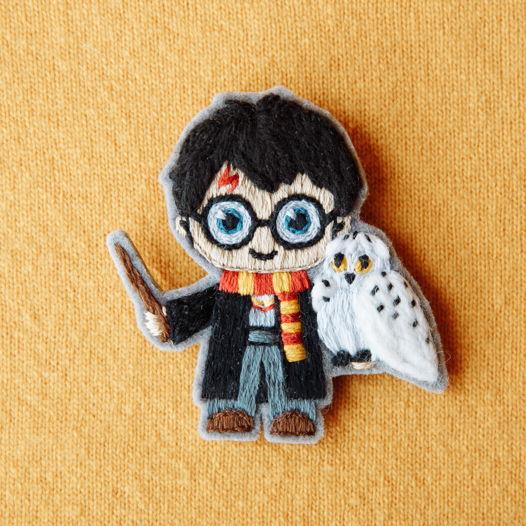 """Брошь вышивка """"Гарри Поттер"""" (в наличии)"""