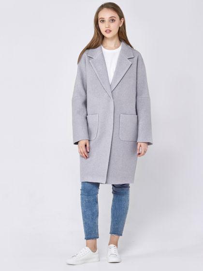 Пальто-кокон светло-серого цвета