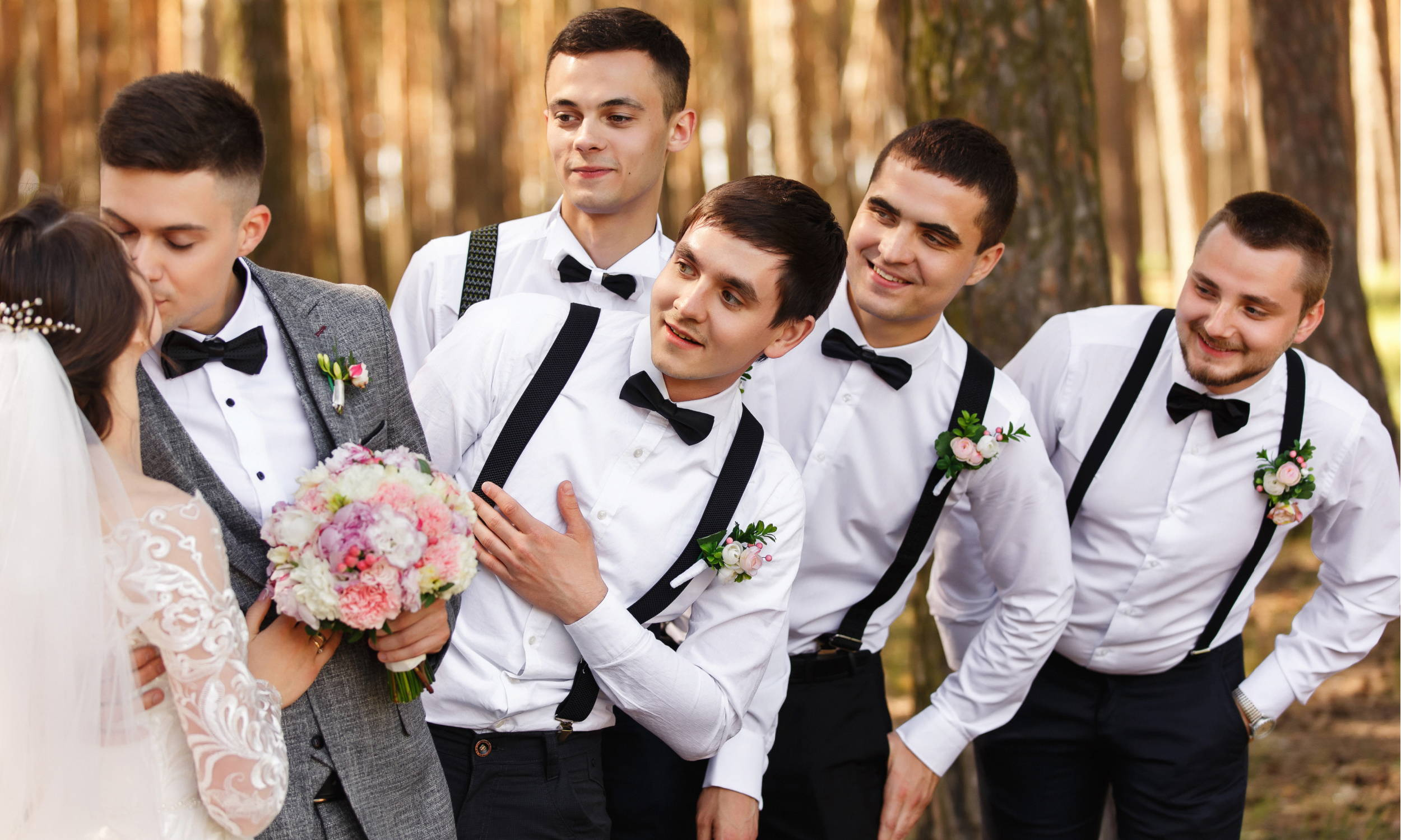 How to Wear Suspenders - Groom and Groomsmen Wearing Black Suspenders & Black Bow Tie