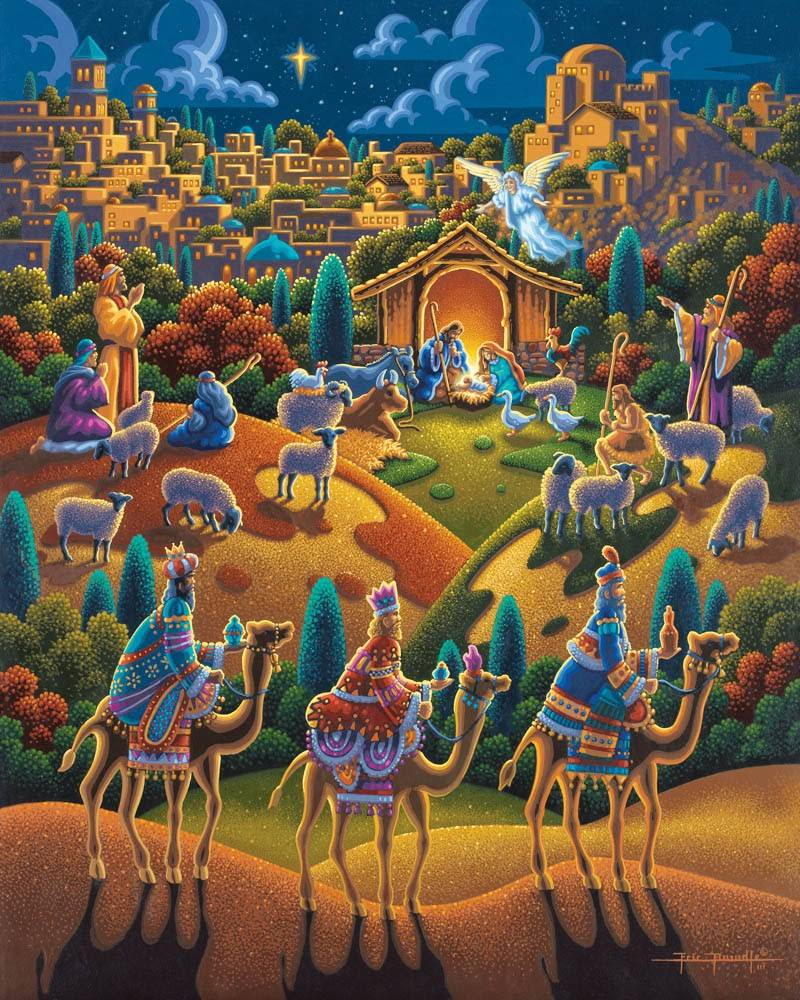 Colorful LDS art painting of the Bethlehem and the Nativity scene.