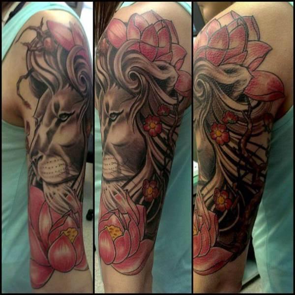 Tatouage Lion Rose
