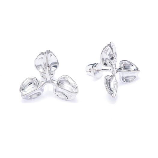 Серебряные серьги-гвоздики Трилистники открытые бутоны. Пара или моносерьга