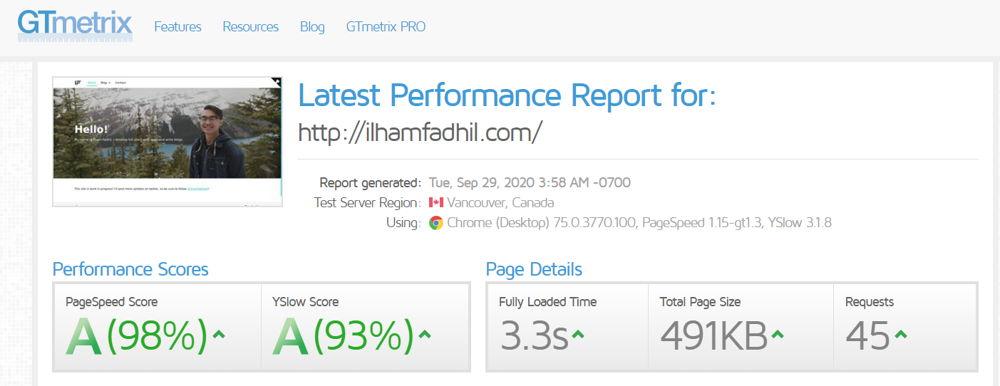 GTmetrix result