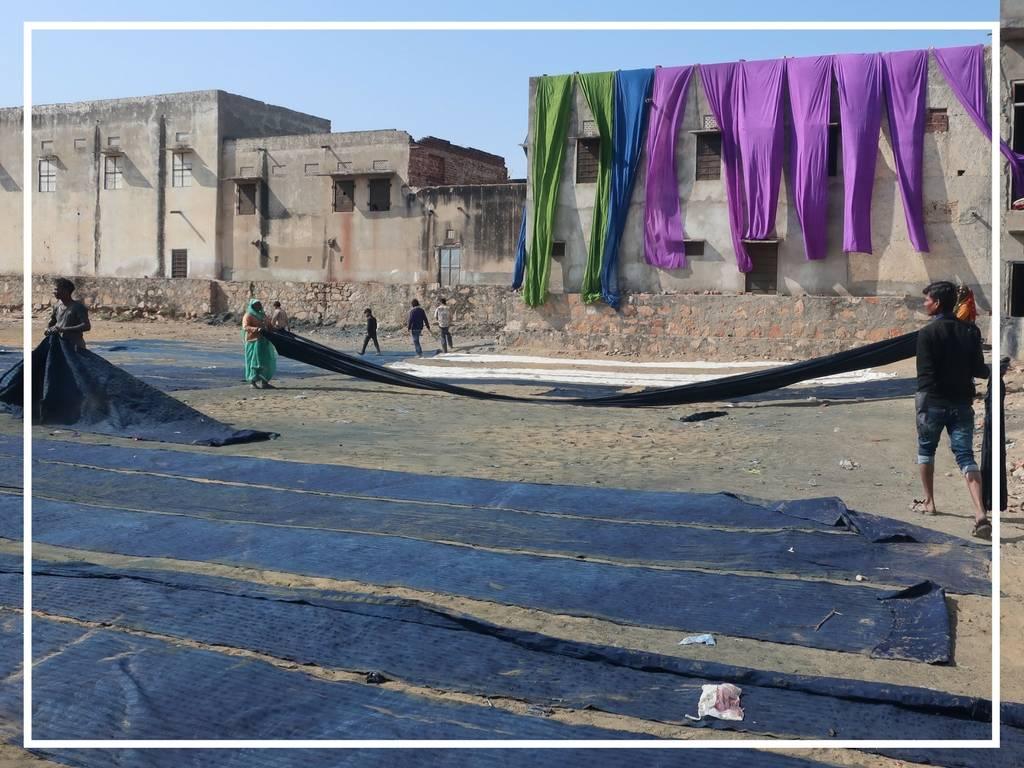 fabrics drying in the sun in bagru india