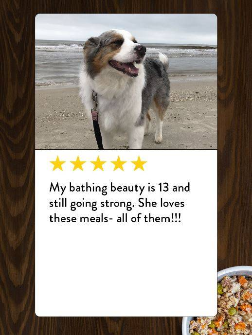 A review from a senior dog who loves Portland Pet Food dog food toppers.