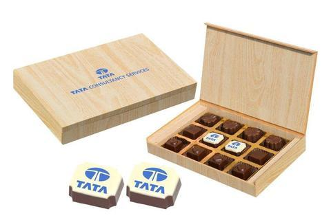 Gifts for Corporate - 12 Chocolate Box - Middle Two Printed Candies (10 Boxes)