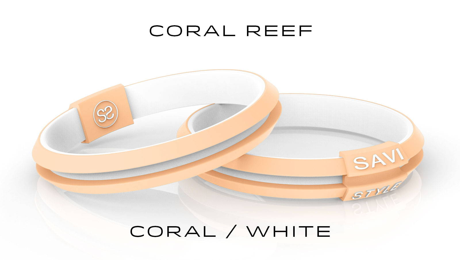 savi sleek coral reef by savistyle hair tie bracelet stacked view