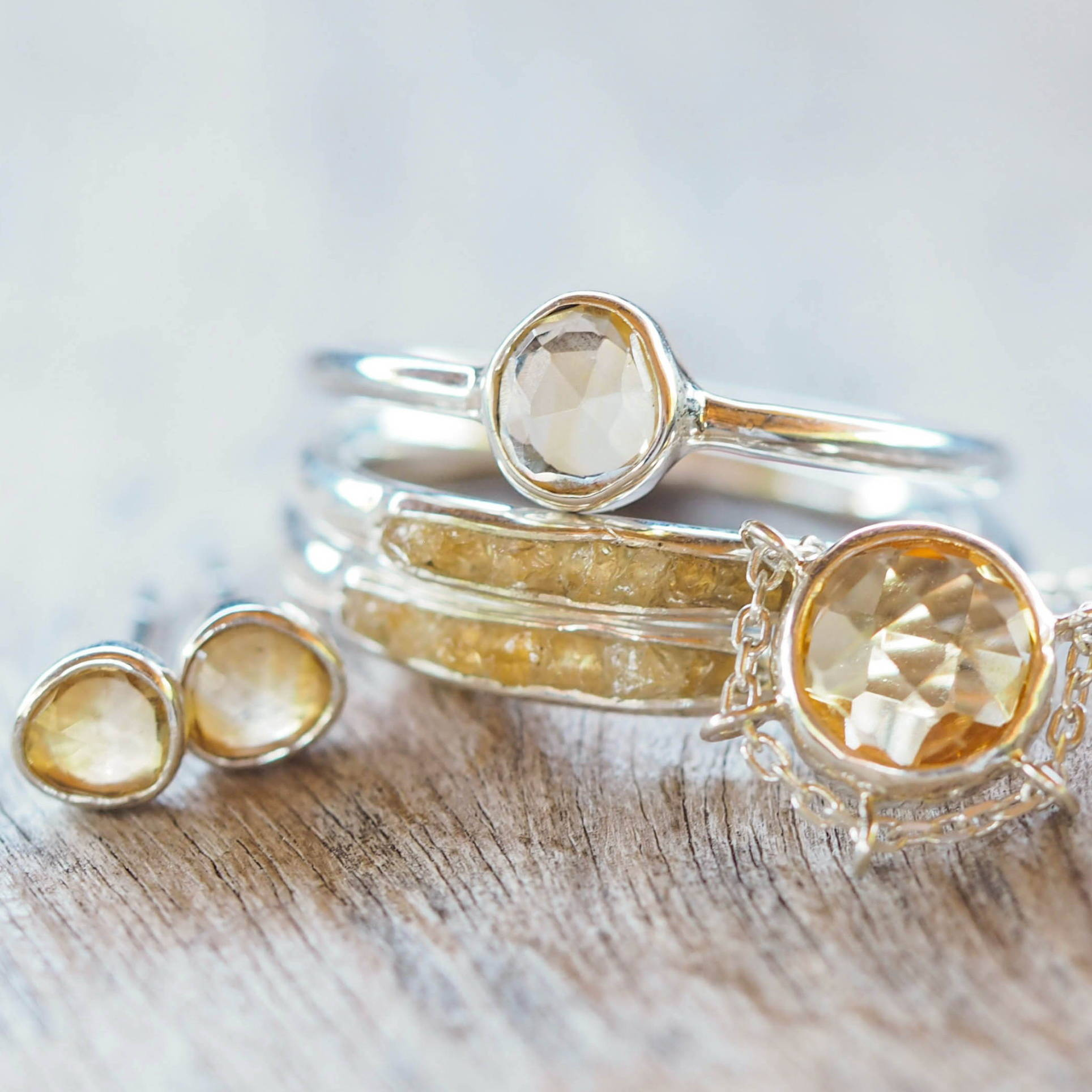 Silver citrine jewelry