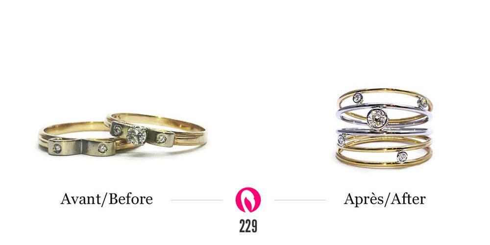 Recyclage de vieux bijoux en une bague 5 rangs deux tons et diamants