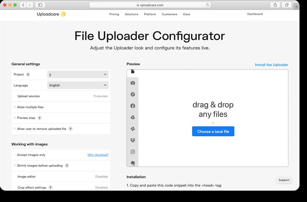 File Uploader Configurator interface