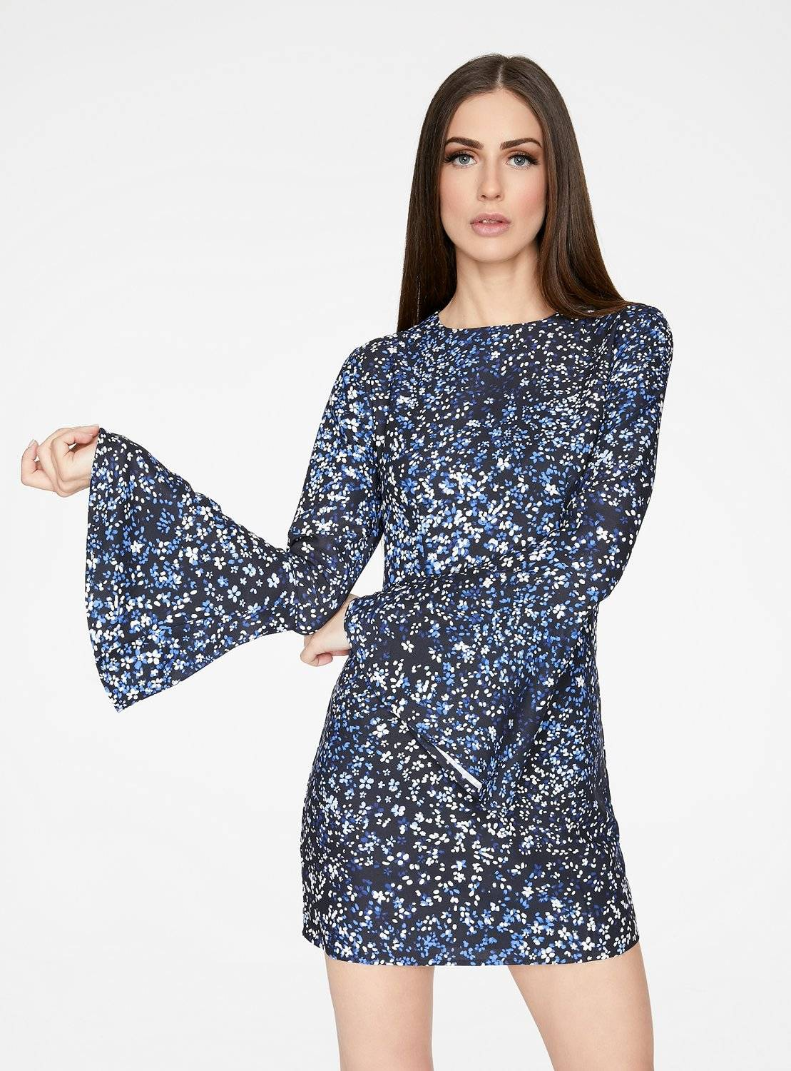 Blue Floral Bell Sleeved Mini Dress