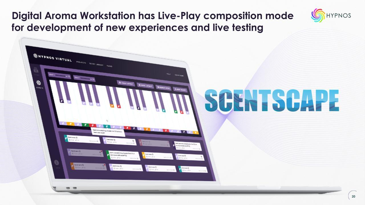 Scentscape Digital Aroma workstation also enables live play of aromas, which also allows for multiple aroma play at the same time.