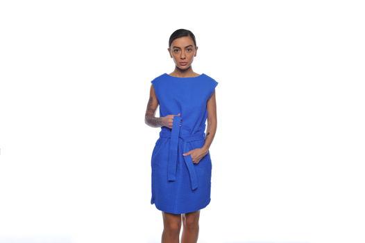 Синее вафельное платье