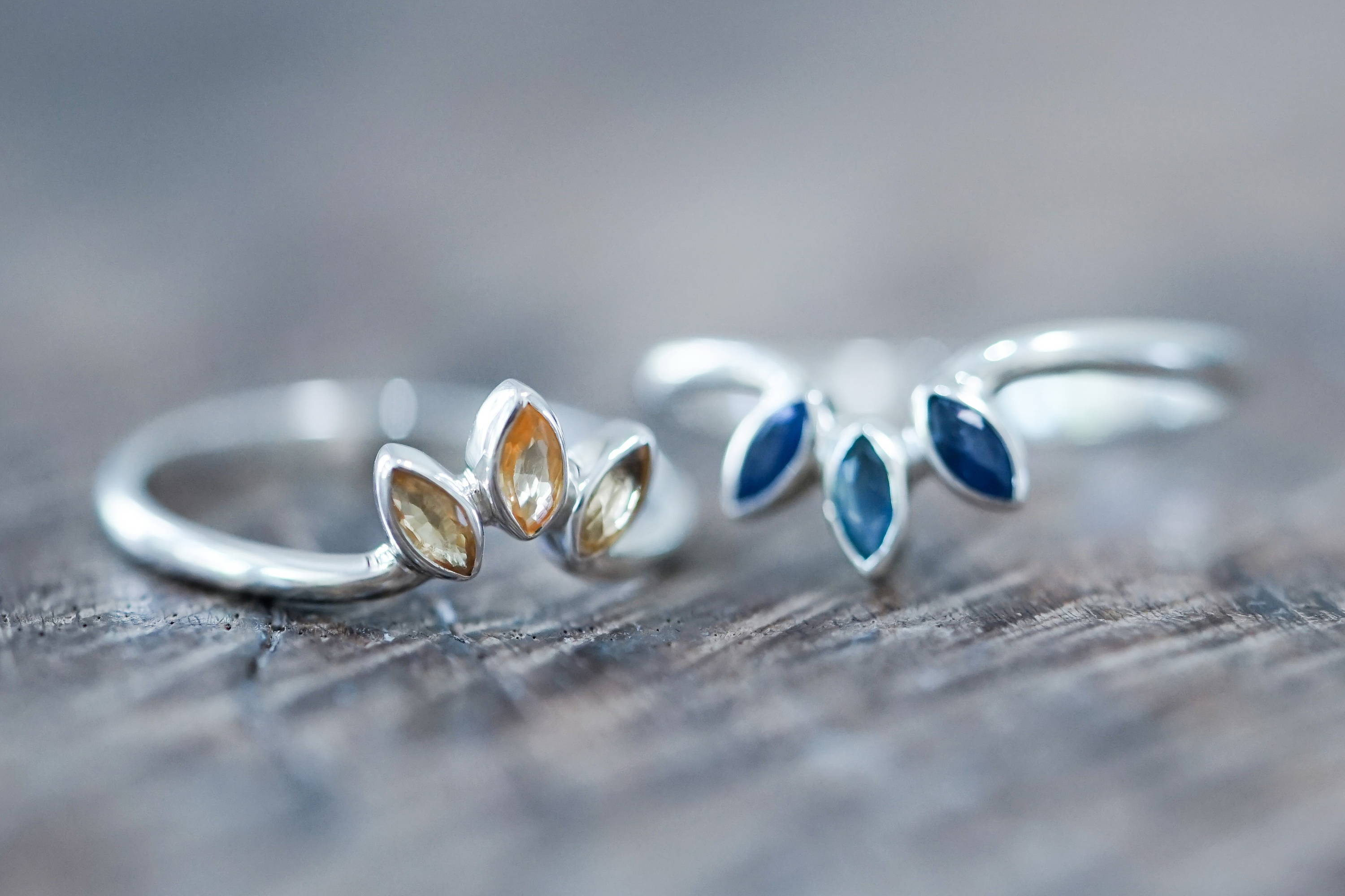 Recycled silver stacking rings with sapphires