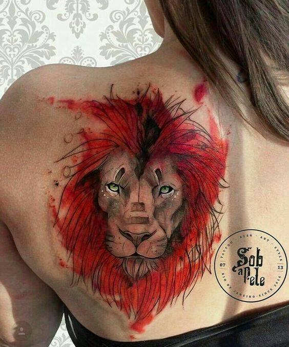 Tatouage Lion Criniere Rouge Femme
