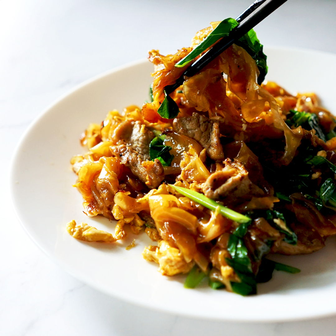 Stir-fry Homemade Pad-See-Ew. The most famous local Thai street food.