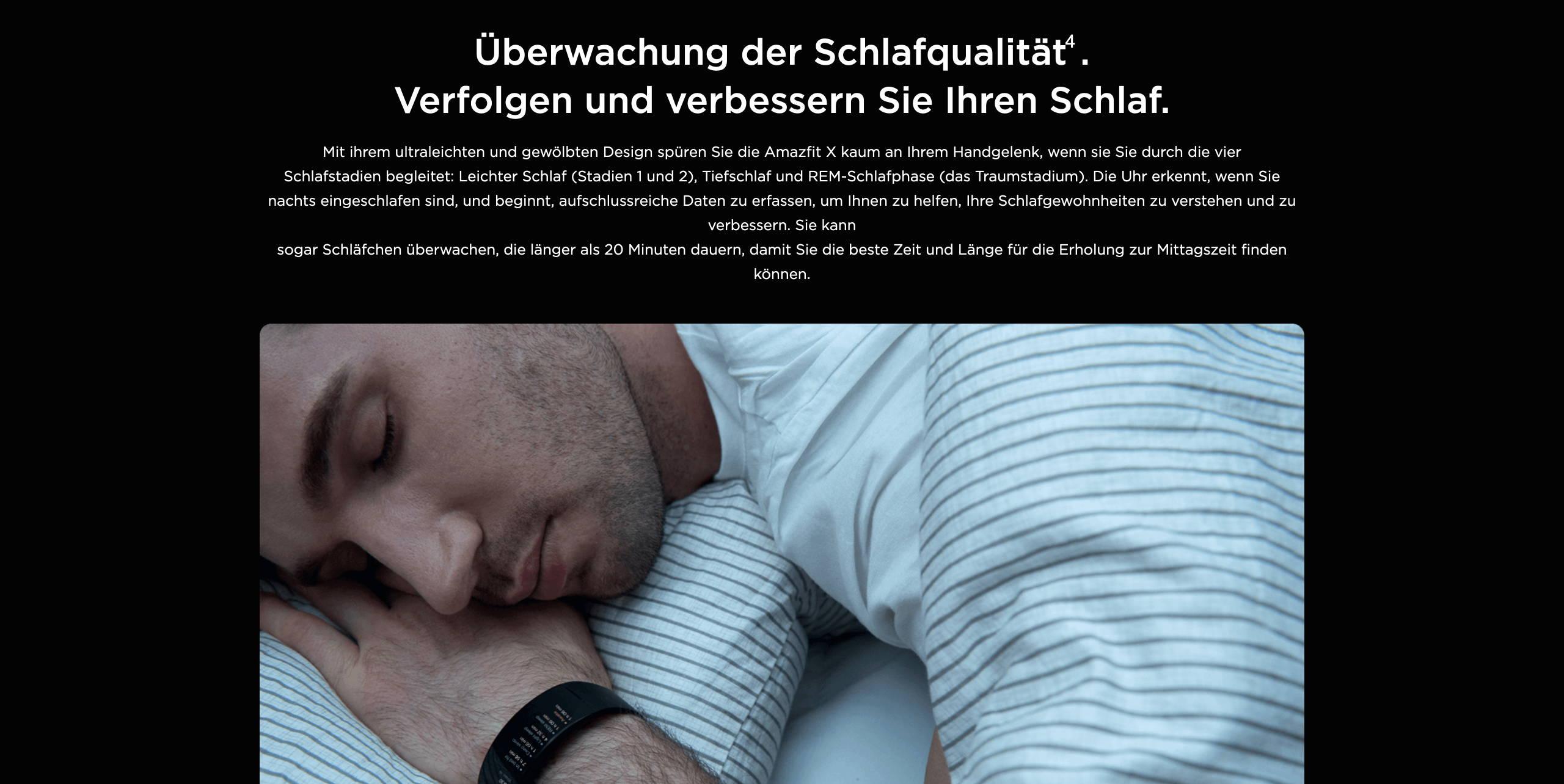 Amazfit X - Überwachung der Schlafqualität. Verfolgen und verbessern Sie Ihren Schlaf.
