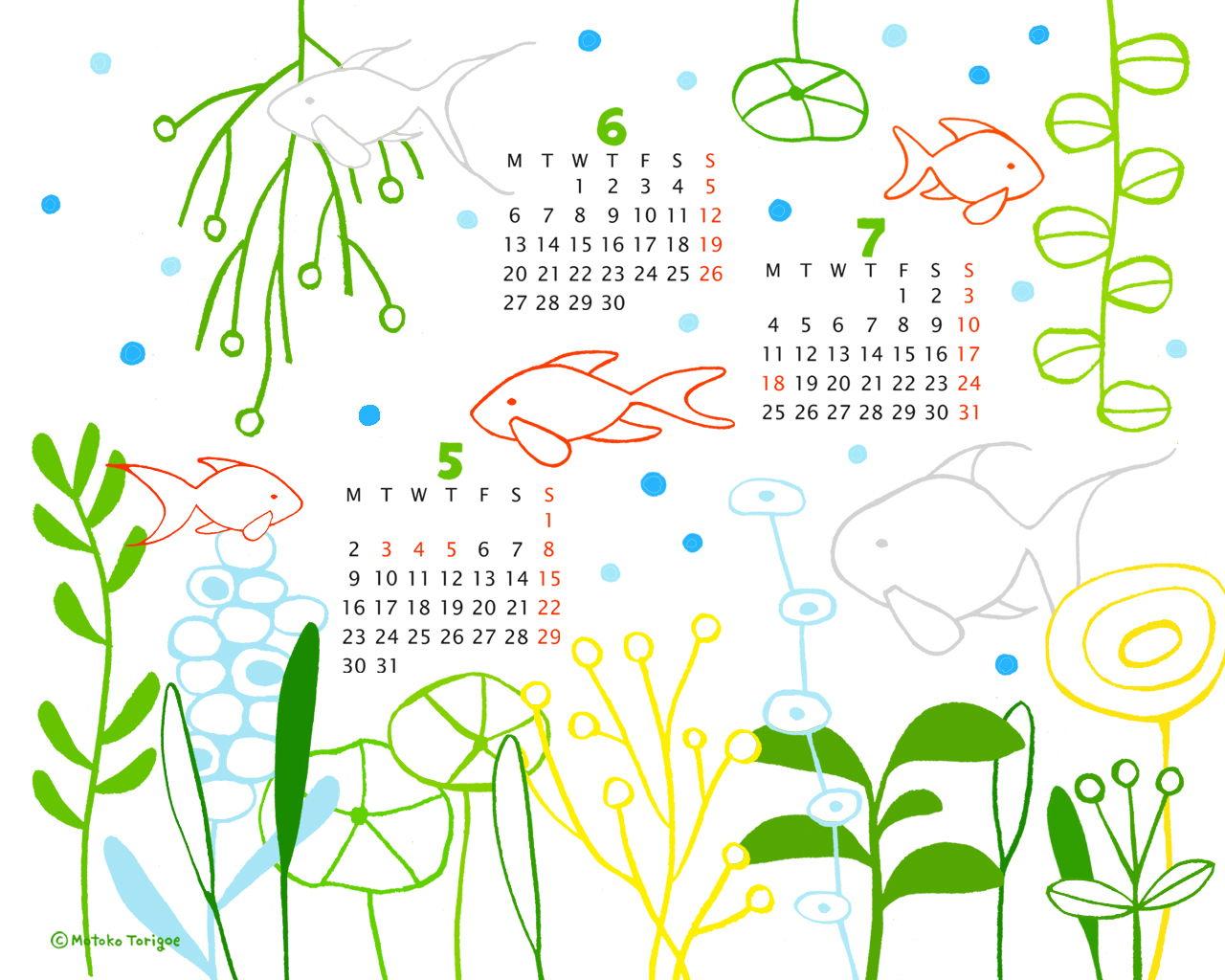 2011年5月6月7月カレンダーつきイラスト壁紙その2です 1280 1024 トリゴエ モトコ Awrd アワード