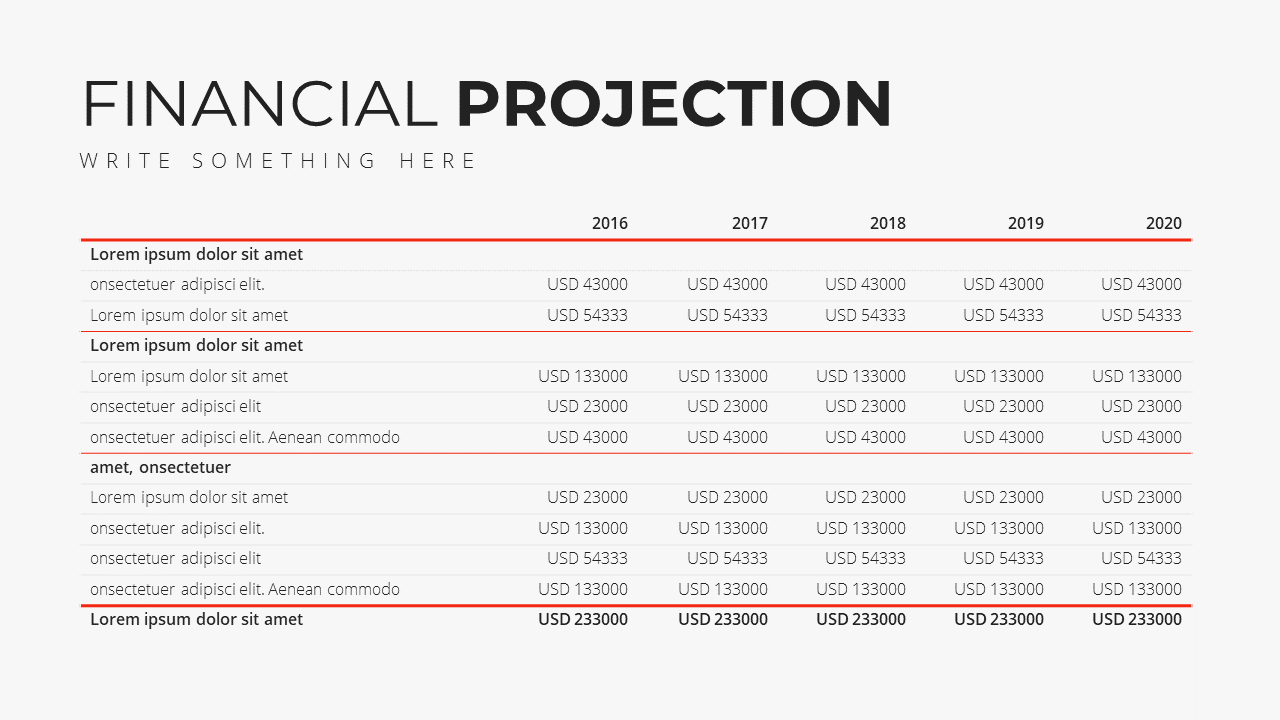 Minimal X Presentation Template Business Plan Financial Projection