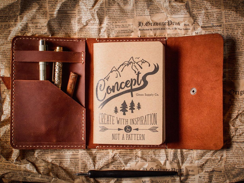 Кожаный блокнот -MIRACLE- формата А6 с карманом цвет Коньяк