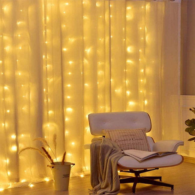 curtain fairy lights with led fairy lights - curtain lights with a remote control and 7 light effects