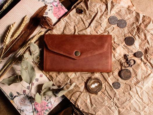 Женский кошелек из натуральной кожи -CAMELLIA- цвет Коньяк