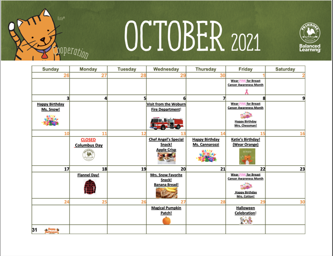 October Calendar!