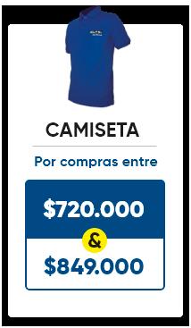 Llévate una camiseta por compras entre 720.000 y 849.000