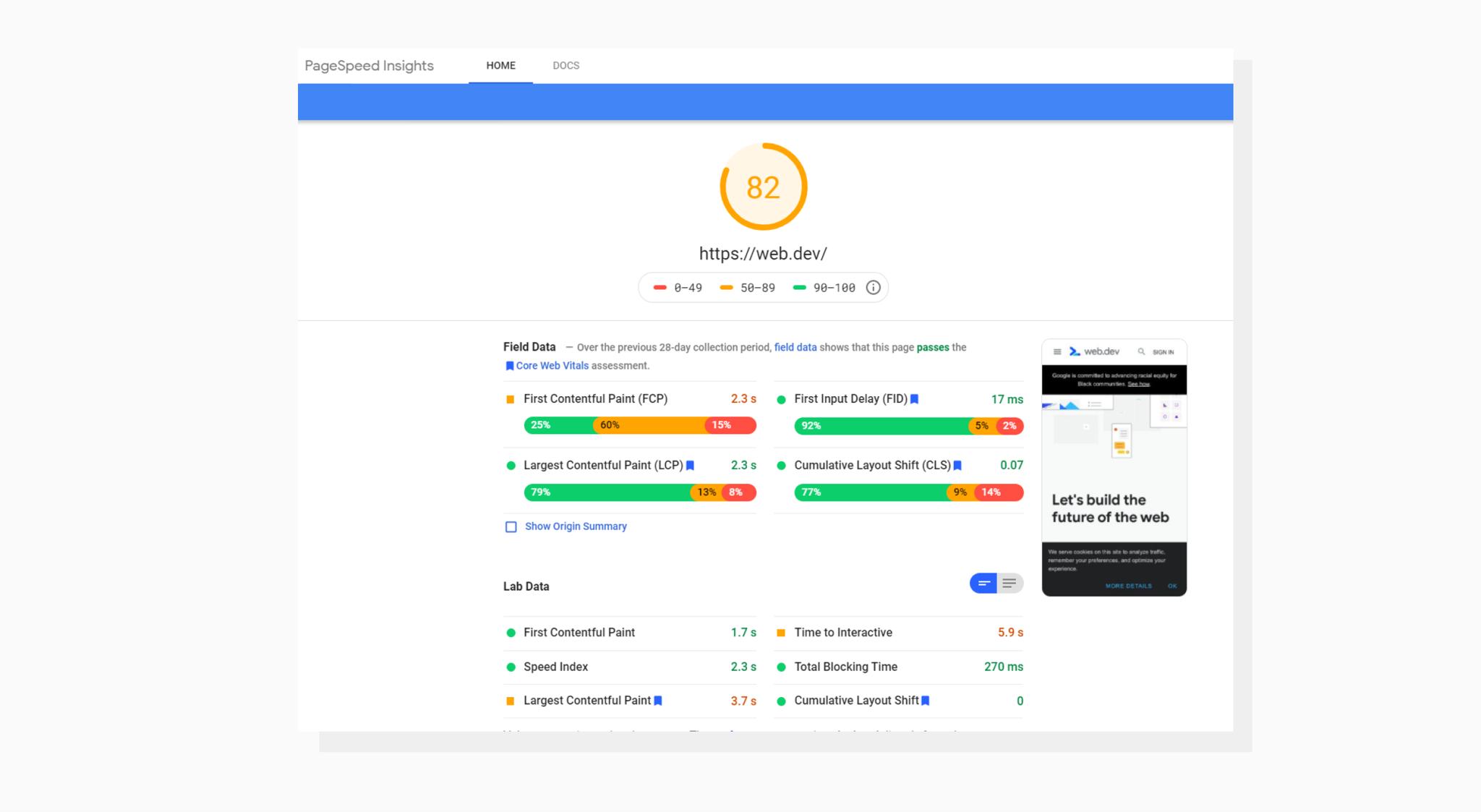 Google PageSpeed Insights interface screenshot