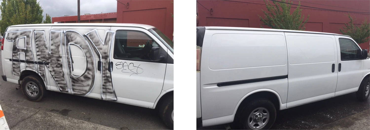 remove graffiti from automobiles, vehicles and equipment