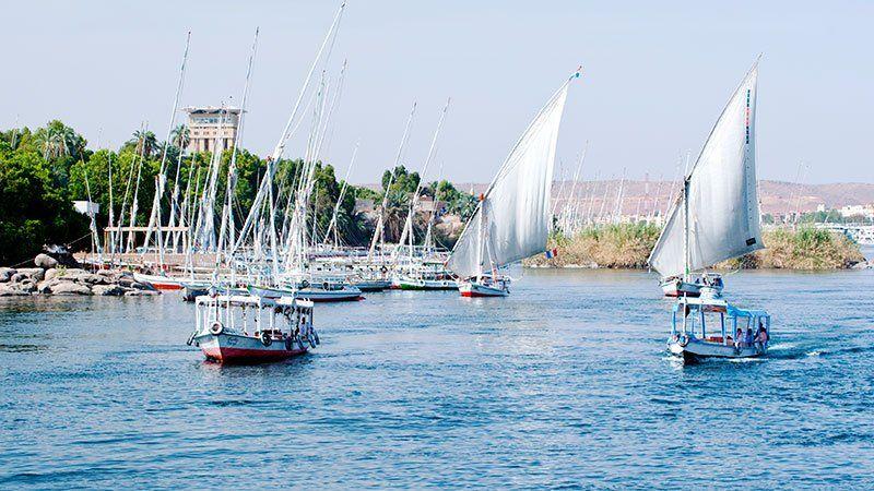 Feluccas on the Nile, Aswan, Egypt
