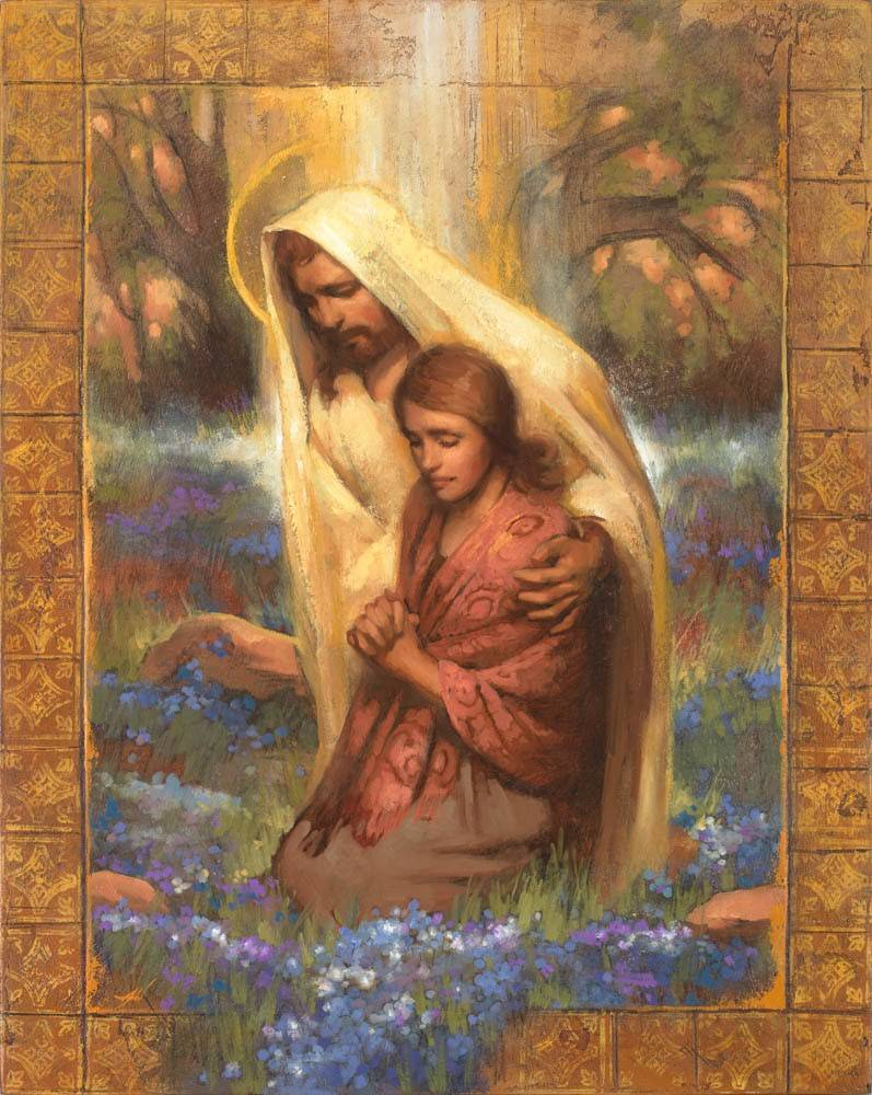 Painting of Christ comforting a woman in prayer, surrounded by forget-me-not flowers.