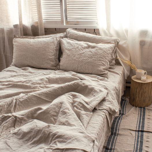 Комплект постельного белья из льна 180х200, простой, неокрашенный лён