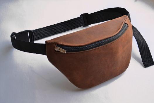 Поясная сумка унисекс коньячного цвета