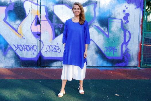 Синее с белым двухслойное платье