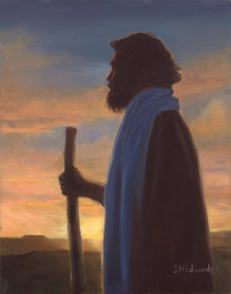 Painting of Jesus holding a staff and standing against an evening sky.