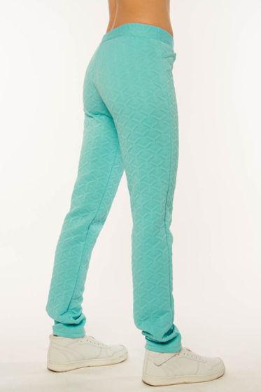 Женские брюки из голубого фактурного трикотажа