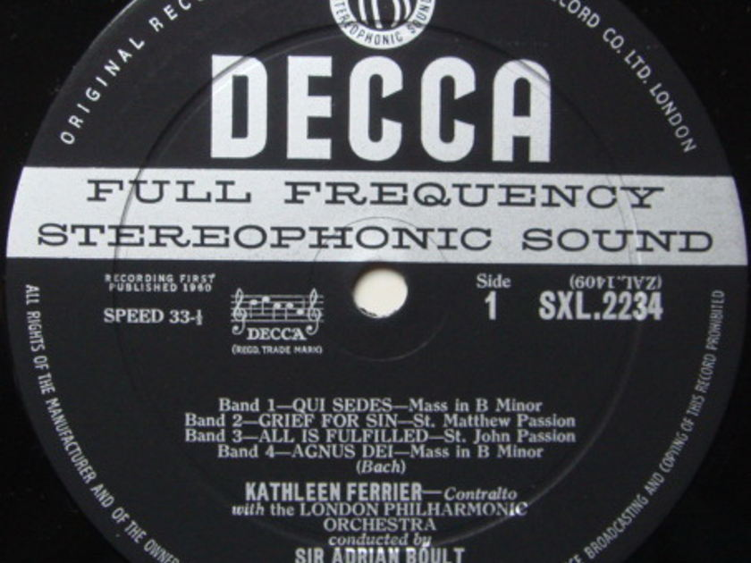 DECCA SXL-WB-ED1 / KATHLEEN FERRIER, - Bach-Handel Recital, NM-!