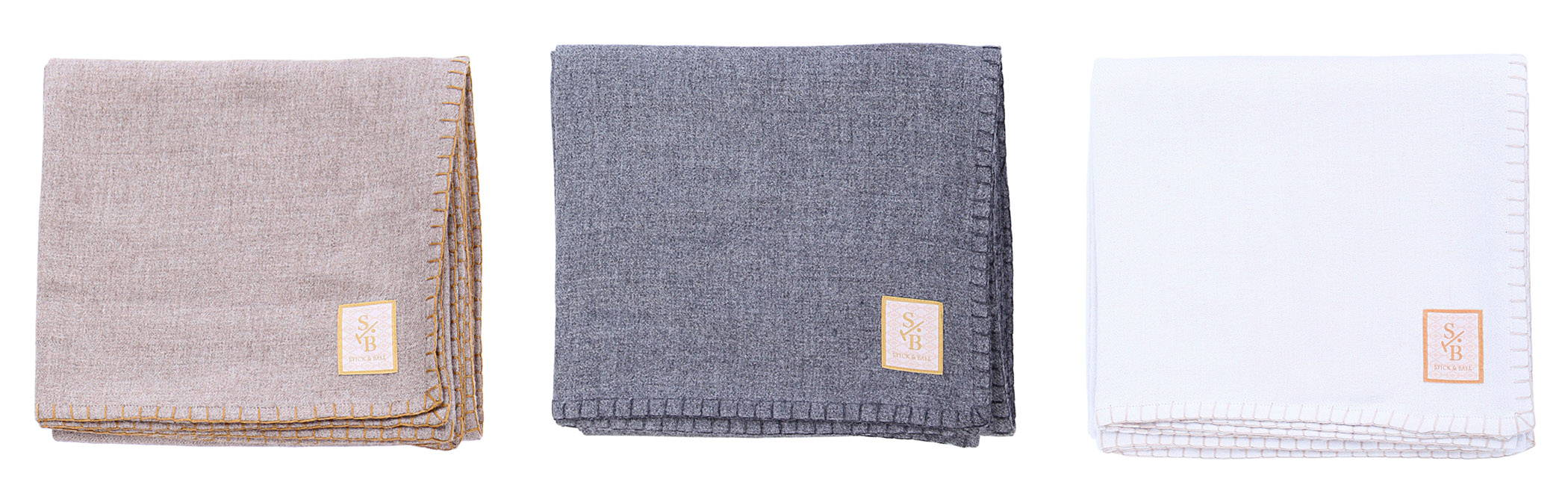 loomed & hand-stitched Solid color alpaca throw blankets in taupe, charcoal and winter white - Stick & Ball