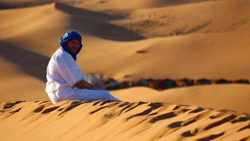 Enjoying the desert, Merzouga, Morocco